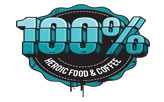 100% HEROIC FOOD AND COFFEE  logo